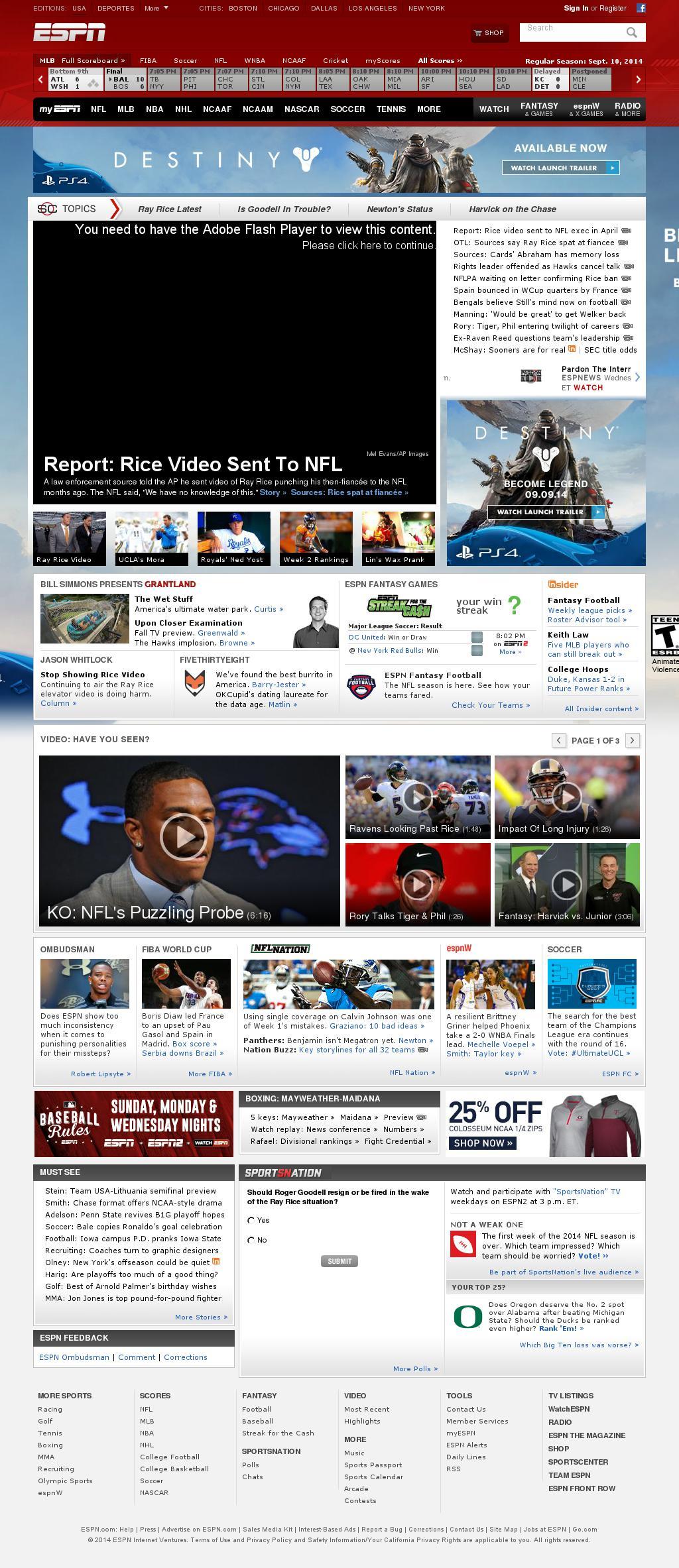 ESPN at Wednesday Sept. 10, 2014, 11:09 p.m. UTC